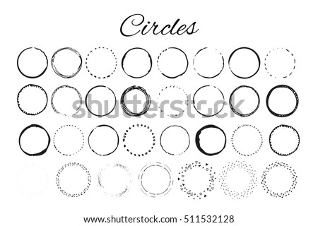Handdrawn elements with circles  isolated on white background and easy to use. Design your own perfect project. Vector illustration.