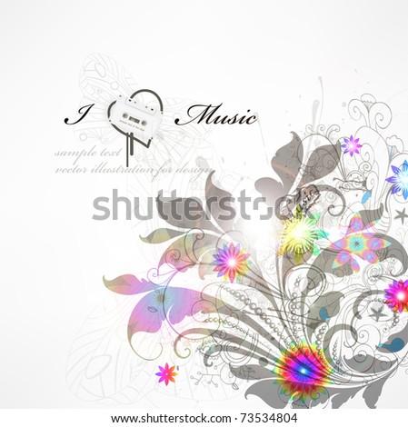 Handdrawn floral design elements. Spring background. Eps 10.