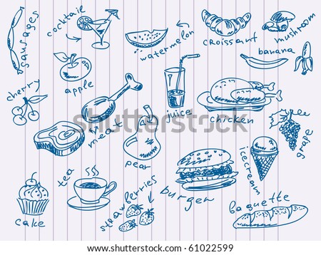 Handdrawn food doodles Vector. Visit my portfolio for big collection of doodles - stock vector