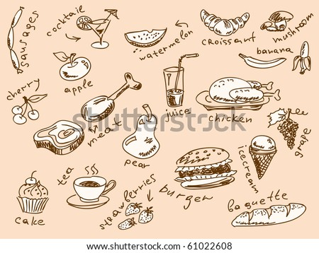 Handdrawn food doodles Vector. Visit my portfolio for big collection of doodles