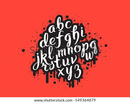 Handdrawn graffiti alphabet. Brush pen letters. Handwritten script font. Hand lettering custom typography with paint flows and blots