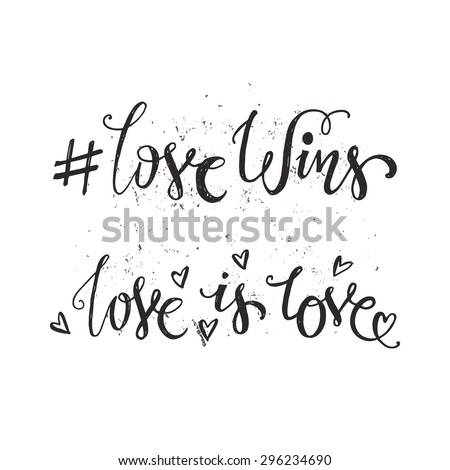 handdrawn quotes   love wins