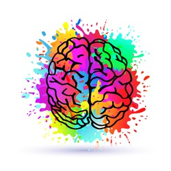Handdrawn Vector Brain.Logo silhouette isolated on colorful watercolor splashes of paint.Top view.Design template for business cards,apps and websites.Illustration isolated on white background