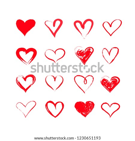 handdrawn vector grunge hearts set, Valentine day illustration, vintage design element