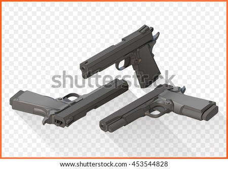 handgun isometric illustration