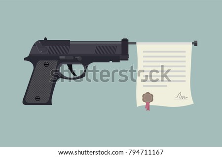 Handgun with certificate licence. Gun laws in America. Vector 2D illustration.