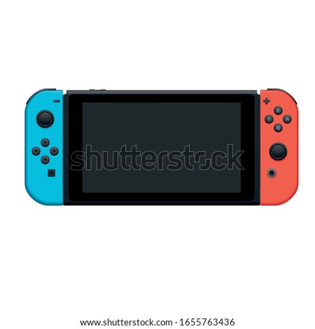 handheld console gaming and gadget high vector illustration Foto stock ©