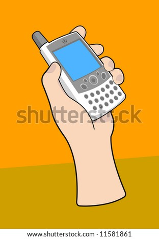 Handheld mobile PDA device, blank screen. Shown with hand. Vectored EPS.
