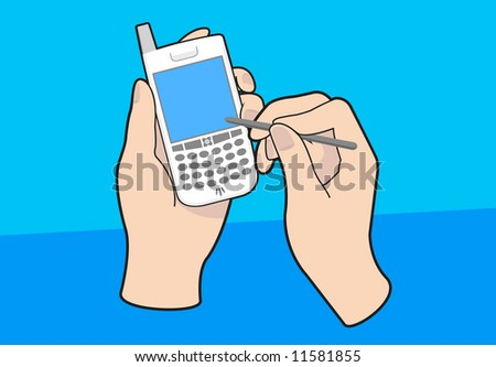 Handheld mobile PDA device, blank screen. Shown with hands and pointer. Vectored EPS.