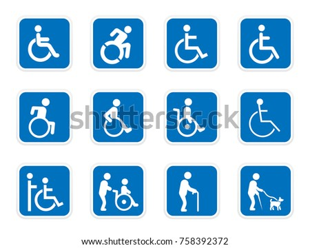 handicap icons, disabled people