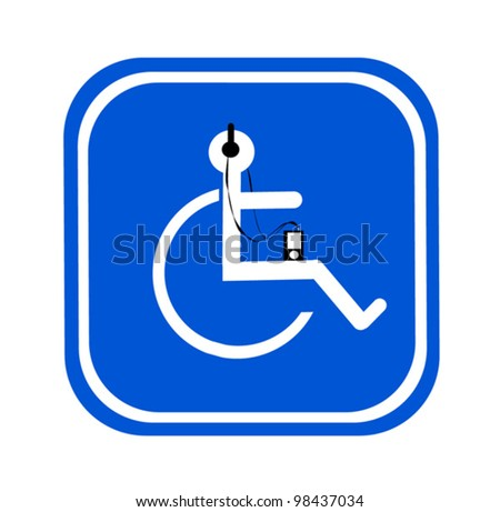 handicap symbol with headphones and digital music device