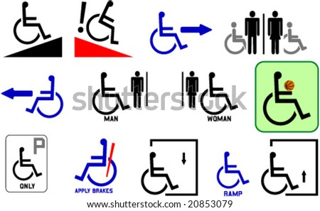 Handicap/wheelchairs signs for any occasions. Collection for graphic designers, sign maker, web designer.