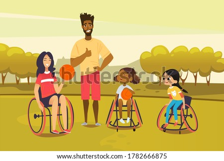 Handicapped adult and girl in wheelchairs playing baseball and have fun. African american man referee coaching young sportsmen s. Medical rehabilitation concept. Vector Illustration.