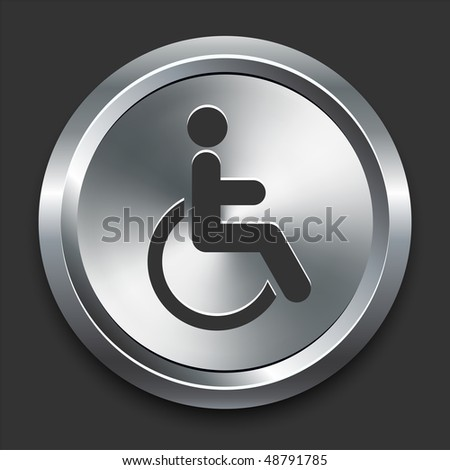 Handicapped Icon on Metal Internet Button Original Vector Illustration