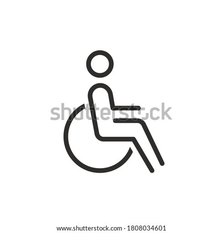 Handicapped patient line icon. linear style sign for mobile concept and web design. Disabled man outline vector icon. Symbol, logo illustration. Pixel perfect vector graphics Photo stock ©