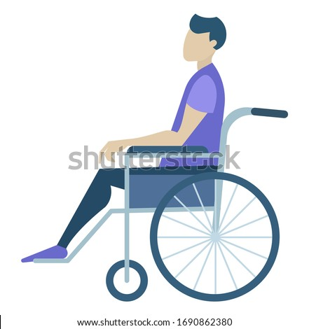 Handicapped person character sitting in wheelchair. Man paralysis in chair with wheels. Side view of male character on transportation object isolated on white. Medical program and support vector Photo stock ©