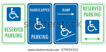 Handicapped reserved parking signs. Wheelchair ramp access sign
