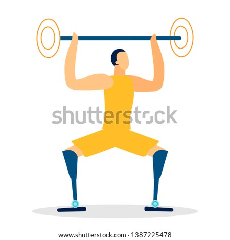 Handicapped Weightlifter Flat Vector Illustration. Disabled Individual with Amputated Legs Isolated Character. Male Amputee, Heavyweight Sportsman. Bionic Prosthesis Improving Life Quality