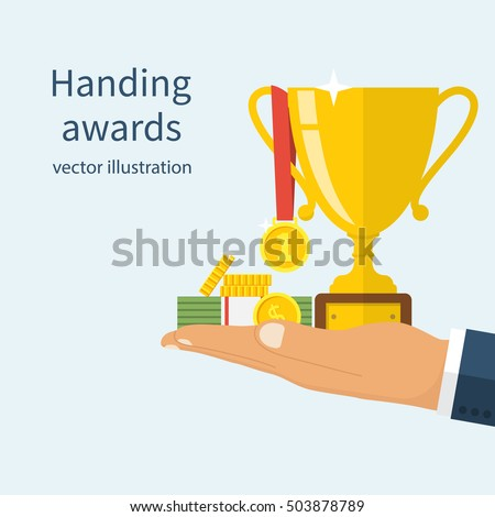 Handing awards concept. Man holding a reward for awarding. Recognition, bonus, gift. Cup, medal, money on hand. Vector illustration flat design.
