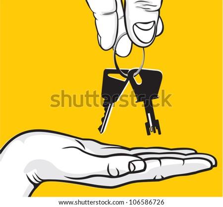 Handing Over Keys - stock vector