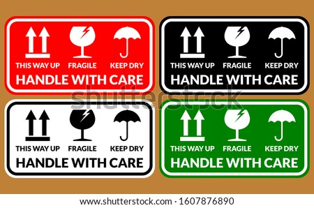 Handle with care FRAGILE design icon can used for carton FRAGILE MARK label, box signs, shipping mark, package markings, stamp fragile label. FRAGILE set contain this way up icon, keep dry icon.