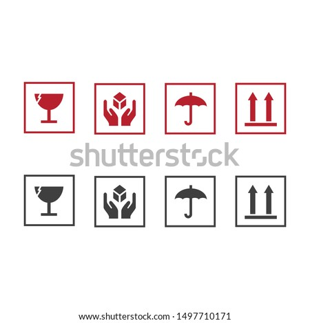 Handle with care icons. Package handling labels. This side up, fragile, keep dry symbol. Vector illustration.
