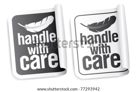 Handle with care packing stickers set