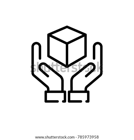 handle with care sign, box in hands icon vector
