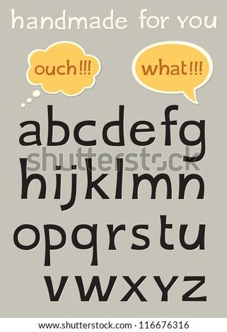 handmade alphabet with speech bubbles