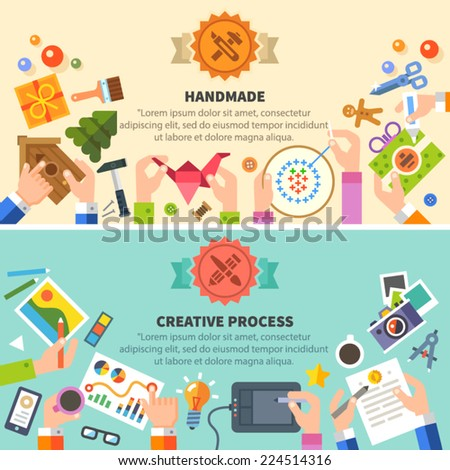 Handmade and creative process: drawing, photo, embroidery, workshop. Vector flat illustrations