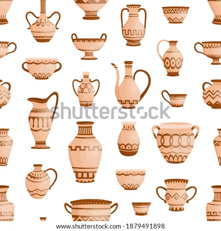 Handmade antique greek pottery seamless pattern. Ancient vases decorated by hellenic ornaments vector flat illustration. Background with traditional grecian clay amphoras and bowls Stock foto ©