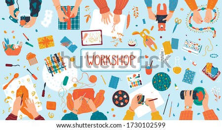 Handmade arts and crafts workshop sewing creative hands make sweets, toys and painting, supplies, tools, design elements flat vector illustration poster, invitation. Handmade cosmetics, food workshop.