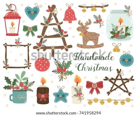 Handmade Christmas set. Vector illustration of craft decorations. Candlesticks, christmas decorations, christmas tree, toys, jingle. Handcrafts, rustic design elements