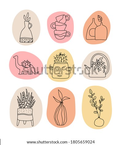 Handmade Clay Pottery Logos collection. Artisan Creative Craft Sign Concept in line art style. Handmade ceramics vector graphic elements. Decorative labels for pottery workshop, floral shop. Сток-фото ©