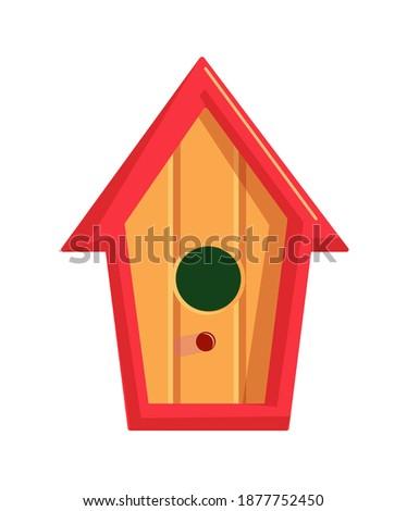 Handmade craft birdie wooden house on white background Foto stock ©