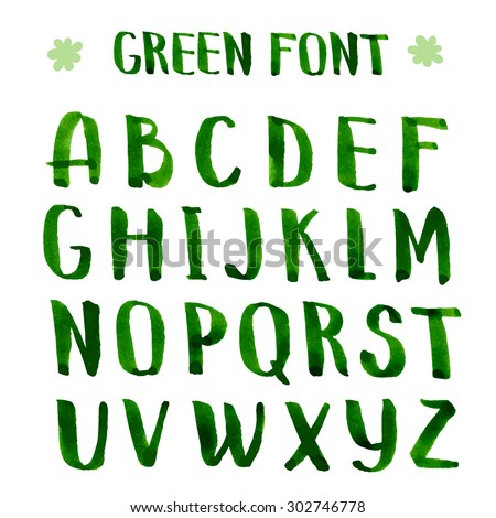 handmade ink green alphabet