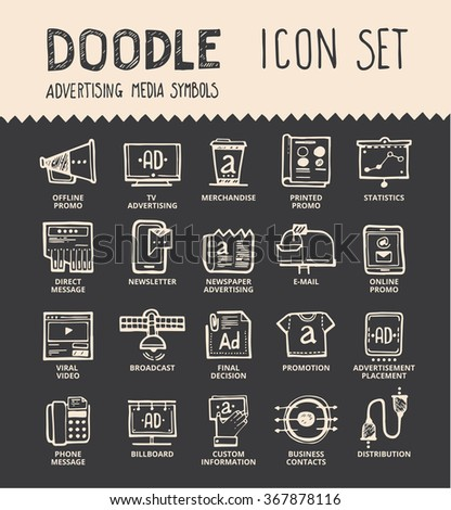 handmade ink pen line icons set