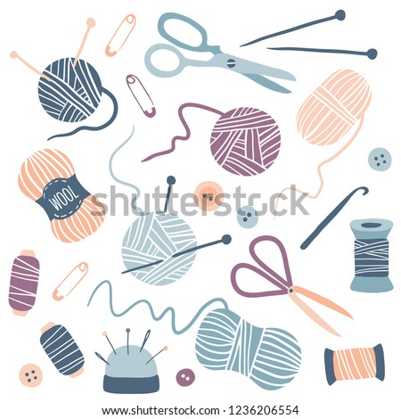 Handmade Kit Icons Set: Sewing, Needlework, Knitting: scissors, thread, needles, yarn balls. Arts and crafts hand drawn supplies. Hobby tools collection. Flat vector illustration of equipment.