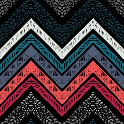 Handmade stripes bright tribal seamless pattern with zigzag