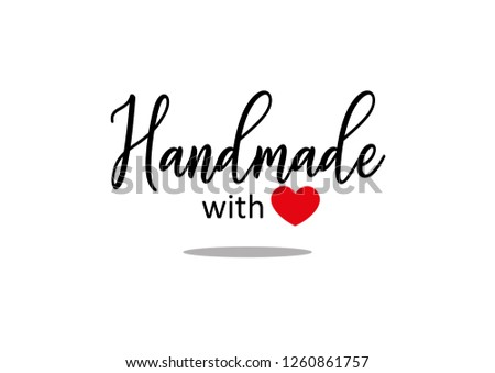 Handmade text with red heart #1260861757