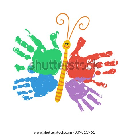 handprint butterfly smiling