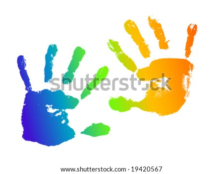 Handprint from little hands in rainbow colors