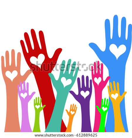 Hands and heart donation donor concept. Icon of kindness and charity vector valentine day