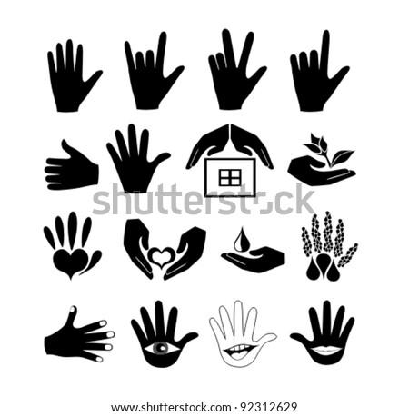 Hands and logos vector set - stock vector