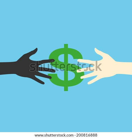 Hands and money, vector print eps.