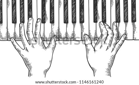 hands and piano keys engraving