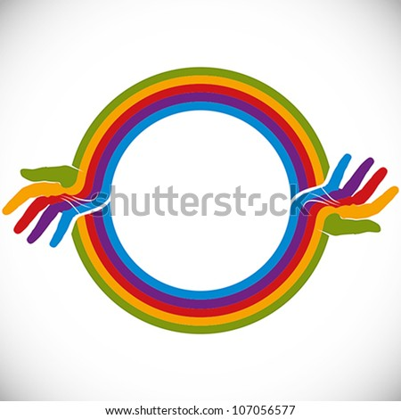 hands and rainbow design