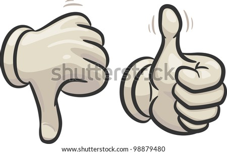 Hands are making thumbs up and down signals,  in two different layers