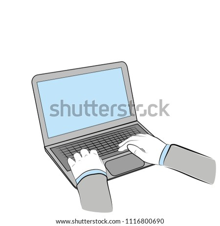 hands are on the laptop. business concept. vector illustration.