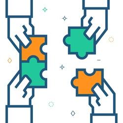 Hands assembling puzzle, business concept. Vector illustration